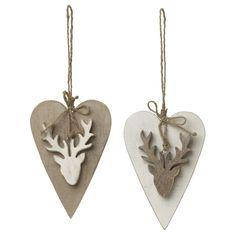 Wooden Hanging Heart With Reindeer nordic wood simple