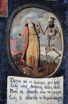 A fragment of the dance macabre painting in the Bernardine church in Kraków