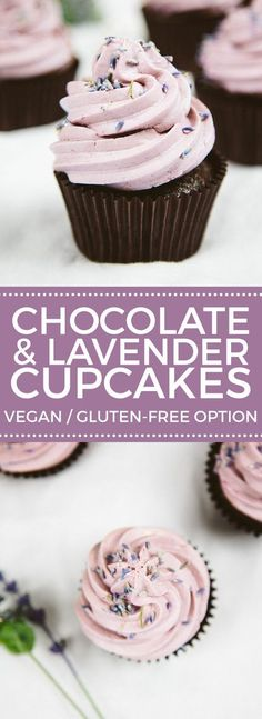 Vegan Chocolate Lavender Cupcakes (Gluten-free Option) (Food Recipes For Teens) Brownie Desserts, Mini Desserts, Just Desserts, Delicious Desserts, Dessert Recipes, Strawberry Desserts, Potluck Desserts, Healthy Cupcake Recipes, Healthy Cupcakes