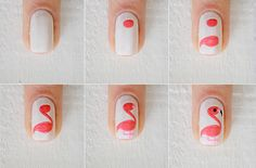 Nail art: flamingos