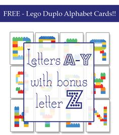 These Lego Duplo Alphabet Cards are an amazing way for kids to learn their alphabet, practice letter recognition and use their gross and fine motor skills Lego Duplo, Kindergarten Handwriting, Handwriting Activities, Handwriting Practice, Lego Activities, Alphabet Activities, Educational Activities, Learning Letters, Fun Learning