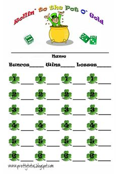 St. Patrick's Bunco Score sheet