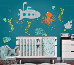Under the Sea Wall Decals with Submarine and by InAnInstantArt, $75.00