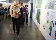 """Crown Princess Mette-Marit of Norway attended opening of the """"If I had to run"""" (Hvis jeg måtte flykte) exhibition at the Oslo City Hall (Oslo Rådhus) in Oslo, Norway."""