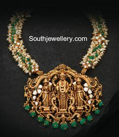 Pearl Necklace with Temple Pendant