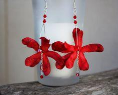 Red Flower Earrings Hawaiian Jewelry Orchid Earrings Hawaiian Flower Floral Earrings Hawaii Flower Tropical Flower Wedding Bridal Bridesmaid on Etsy, $15.00