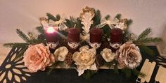Advent wreath, wine red candle, advetny veniec