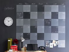 Black board paint checkered wall for my hubby, month at a view on his wall. Super practical.