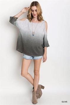 306d5a3048d98e Weekender Casual Ombre Fade Out Olive Cold Shoulder Peep Sleeve T Shirt Top  S M L Cold Shoulder
