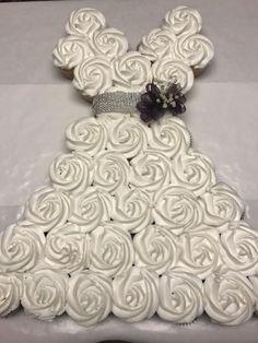 wedding dress cupcakes in 2019 bridal shower cupcakes Wedding Dress Cupcake Cake Trending 2020 Wedding Shower Cupcakes, Wedding Dress Cupcakes, Bridal Shower Party, Bridal Shower Decorations, Bride Cupcakes, Bridal Showers, Bridal Shower Dresses, Cupcake Dress Cake, Cupcake Cakes