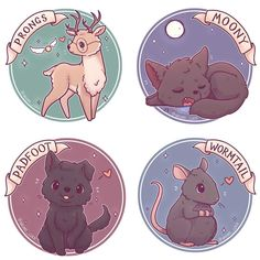 Moony, Wormtail, Padfoot and Prongs! sticker and prints now up on etsy! (Link in bio) (I'll be retiring the old version of these tomorrow morning so if you prefer the older ones last chance :3 ) • #marauders #maraudersera #moony #wormtail #padfoot #prongs #remuslupin #lupin #peterpettigrew #sirius #siriusblack #jamespotter #cute #kawaii #chibi #harrypotter #harrypotterart #hogwarts #instaart #instadaily #instaartist #illustration #illustrationoftheday #digitalpainting #digit...