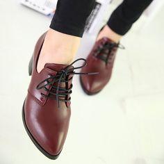 Sapatos femininos da moda primavera lacing calcanhar grosso moda sapatos único boca rasa dedo apontado baixos elegante ol de couro pequena em Oxfords de Sapatos no AliExpress.com | Alibaba Group