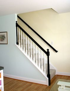 Beautiful Home Living ~ Black Banisters most similar to the style and layout of . Beautiful Home Living ~ Black Banisters most similar to the style and layout of mine. White Banister, Painted Banister, Black Stair Railing, Stair Banister, Black Stairs, Banisters, Railings, Hand Railing, Beautiful Houses Inside