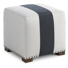 Check out this item at One Kings Lane! Canto Nailhead Ottoman, White/Navy