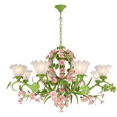 8 Lights Grass-Green Flower Basket Shape Chandelier