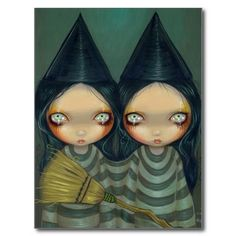 Items similar to Siamese Witch Twins halloween goth fairy art print by Jasmine Becket-Griffith on Etsy Twin Halloween, Gothic Halloween, Halloween Art, Fine Art Prints, Canvas Prints, Great Paintings, Dragon Art, Gothic Art, Fairy Art