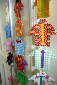 Origami shirt and tie garland tutorial. Great and simple project for kids (and the PERFECT Father's Day gift! origami shapes can be a neat craft component. for collage, sculpture, mixed media crafts. Diy Origami, Origami Shirt, Origami Dress, Origami Tutorial, Origami Paper, Origami Garland, Oragami, Origami Folding, Paper Folding