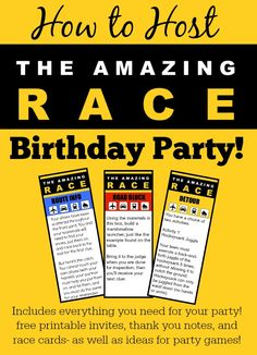"How to Host an ""Amazing Race"" Birthday Party at Home! Fantastic ideas for hosting an Amazing Race birthday party at home! This post includes free printable amazing race party invitations, amazing race game clues, and amazing race thank you notes! Birthday Party At Home, 13th Birthday Parties, Birthday Party Games, Teen Birthday, Slumber Parties, Birthday Ideas, 11th Birthday, Sleepover Party, Party Party"