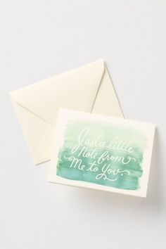 """Simply Stated Card"" from Anthropologie. These would be so much fun to make myself! Just a white crayon or pencil and water colour paint!"