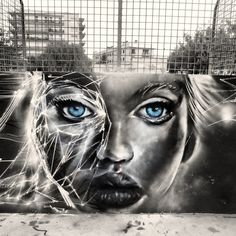 Face, street art, graffitti, urban, beautiful, blue eyes, surreal, fence, street, photo.