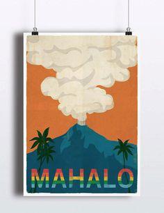 Vintage Hawaii Poster Retro Vintage Hawaiian Art by TheBlackVinyl
