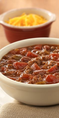Chunky chili made quickly with ground meat, beans and two kinds of tomatoes for lots of flavor - perfect for a weeknight meal.