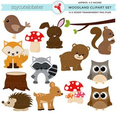 Woodland Clipart Set Clip-Art-Set Wald von mycutelobsterdesigns