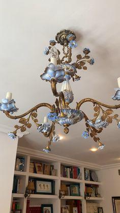 Floral Chandelier, Antique Chandelier, Diy Chandelier, Antique Lamps, Chandelier Shades, Antique Lighting, Ceiling Light Design, Ceiling Lamp, Small Balcony Decor