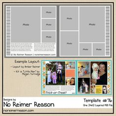 Two-Page Digital Scrapbooking Template (24x12) that includes room for up to 9 photos. This template was created in 300PPI as a layered .PSD file