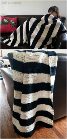Easy Crochet Afghans Easy beginner's project! Double-crochet makes this throw blanket quick and easy. Finished size about 3 feet x 4 feet. uses either one large ball or 9 small balls of each color (black and white). Crochet Afghans, Easy Crochet Blanket, Crochet For Beginners Blanket, Crochet Quilt, Crochet Blanket Patterns, Striped Crochet Blanket, Crochet Throws, Crochet Granny, Beginner Crochet Blankets
