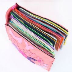 2 methods, shown step by step, for binding a handmade felt book.