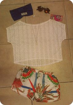 Look of the day - Earthdance outfit 3 CL Headband - R90 Sunglasses - R150 Peace sign necklace - R40 Janie B crochet lace top - R195 Tomboy printed shorts - R110