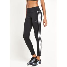 Adidas Basic 3S Tights ($42) ❤ liked on Polyvore featuring activewear, activewear pants, bottoms, pants, sport, adidas, adidas activewear and adidas sportswear
