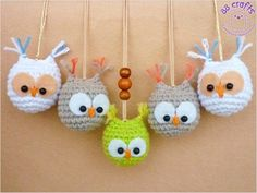 Little owls. Free pattern http://88crafts.blogspot.com/2014/01/mini-owls.html
