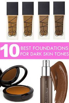 10 Best Foundations for Dark Skin Tones | #makeup #beauty