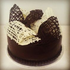 Chocolate cake with chocolate decoration