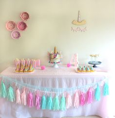 Lexi's 4th Birthday Party Unicorn Themed #unicornparty #unicornpartyideas #unicorncake #unicorn #partyideas #partytable #kidsparty