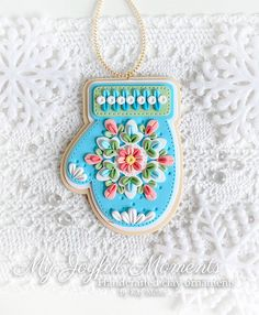 Handcrafted Polymer Clay Mitten Medallion Ornament