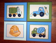 Boy's Custom Paintings SET Of FOUR Inspired by PBK by paintmama, $135.00