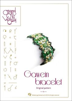 *P Bracelet  tutorial / pattern Gawein with Tile beads ..PDF instruction for personal use only