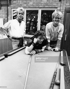 Photo of Morten HARKET and A-HA and Pal WAAKTAAR and Mags FURUHOLMEN; L-R. Pal Waaktaar, Morten Harket, Mags Furuholmen at Pete Townshend's 'Eel Pie Studios'