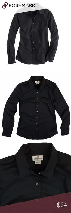 """JCREW Black Stretch Perfect Button Down Shirt Mint as new condition! This black stretch perfect shirt from JCREW features button closures. Made of a cotton and Lycra blend. Measures: bust: 35"""", total length: 25.5"""", sleeves: 24"""" J. Crew Tops Button Down Shirts"""