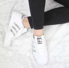 White Adidas Superstar with silver stripes. Cheap Fashion, Fashion Shoes, Latex Fashion, Adidas Superstar Outfit, Silver Outfits, Streetwear Online, Baskets, Tennis Shoes Outfit, Shoes Outlet