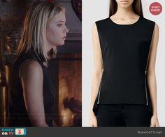 Hanna's black zipper trim top on Pretty Little Liars.  Outfit Details: http://wornontv.net/41901/ #PLL