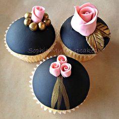 Pink, Black, Gold Cupcakes