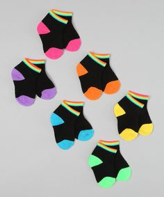 Take a look at this Black Neon Rainbow Socks Set by Rampage on #zulily today!