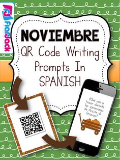 Make writing in the Spanish language fun, engaging, and 21st century with this November Spanish QR Code Writing Prompts Resource. $