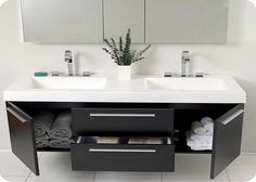 contemporary double floating bathroom vanity and sink consoles - giesendesign