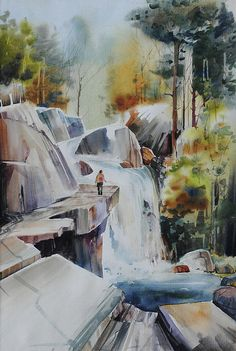 Watercolor Waterfall