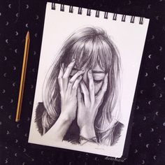 Image via We Heart It #art #covering #cry #crying #draw #drawing #face #girl #hand #pencil #sad